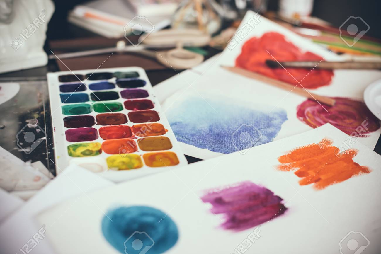 Mess In The The Artists Studio Watercolor Paints Brushes And