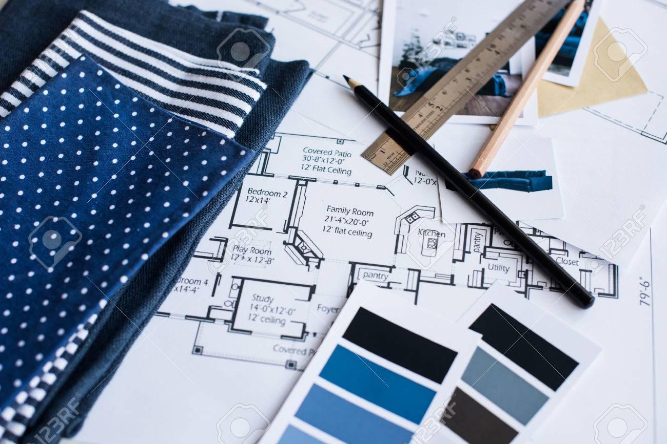 Arbeitstisch Innenarchitekt Ein Architekturplan Des Hauses Eine