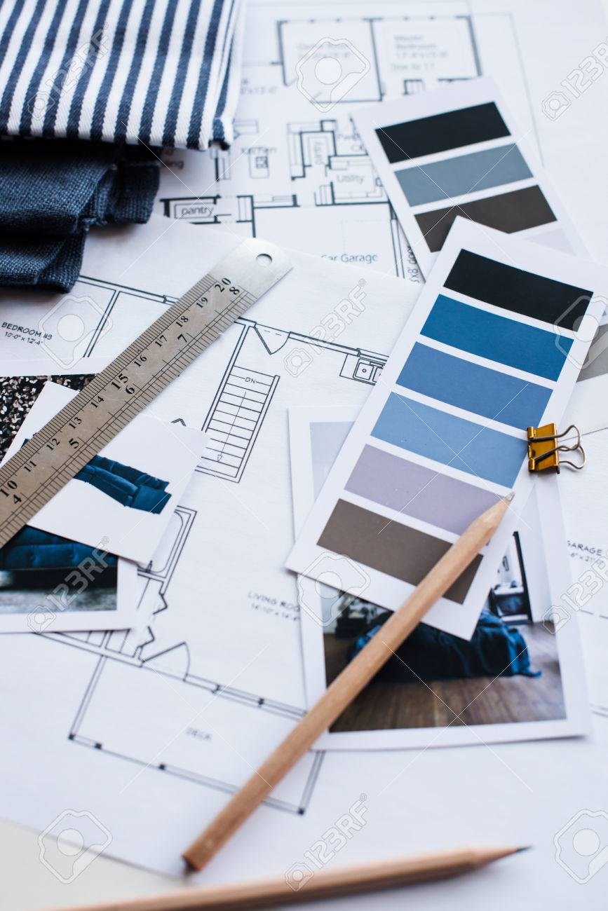 Interior Designer S Working Table An Architectural Plan Of The