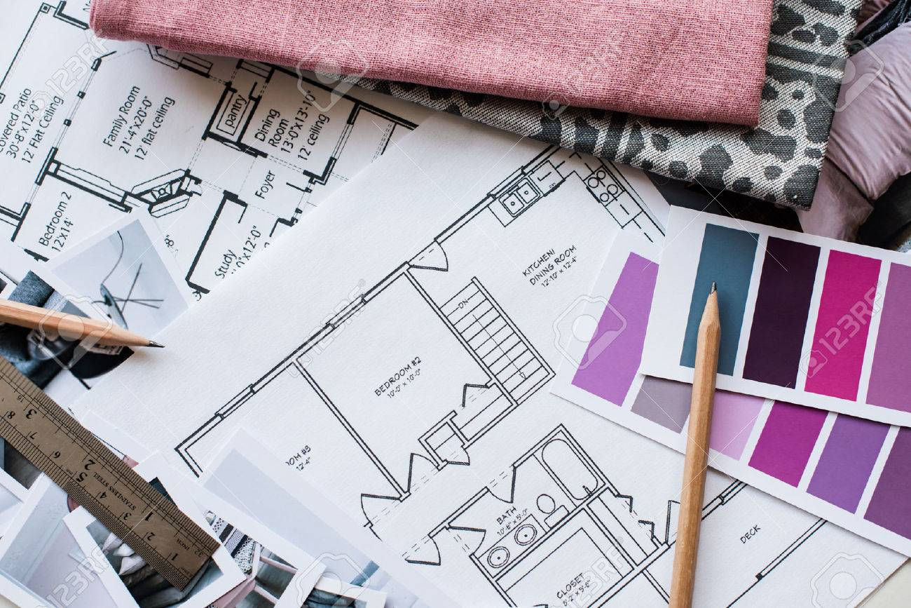 Architectural Drawing Interior Designers Working Table An Architectural Plan Of The House A