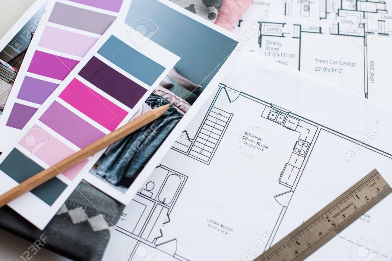La Table De Designer D Interieur De Travail Un Plan Architectural