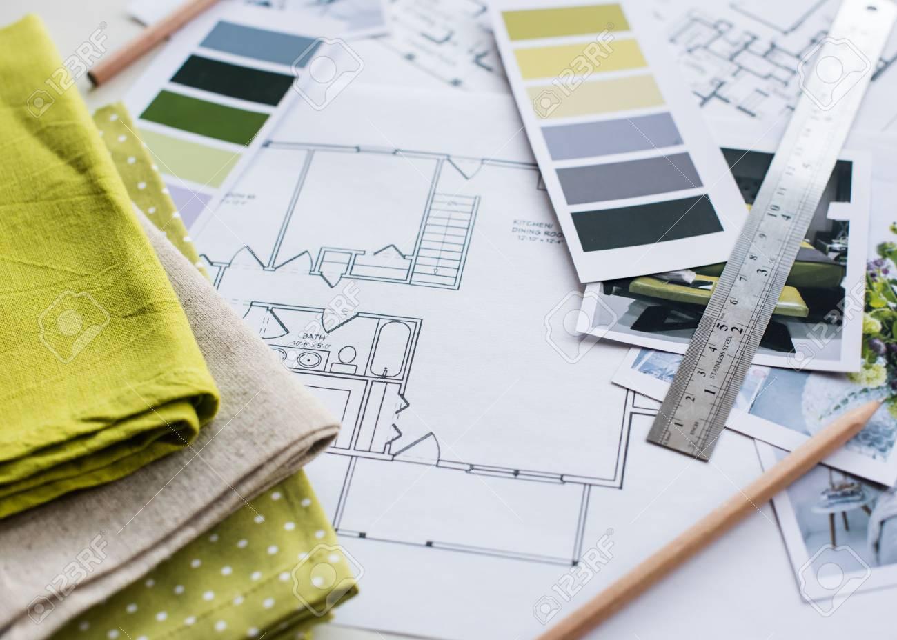 La Table De Designer Dintérieur De Travail Un Plan Architectural