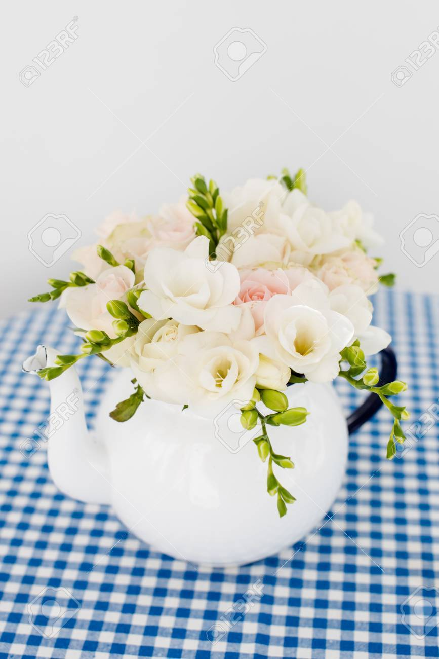 Lovely Fresh Bouquet Of White Summer Roses And Freesias In Vintage ...