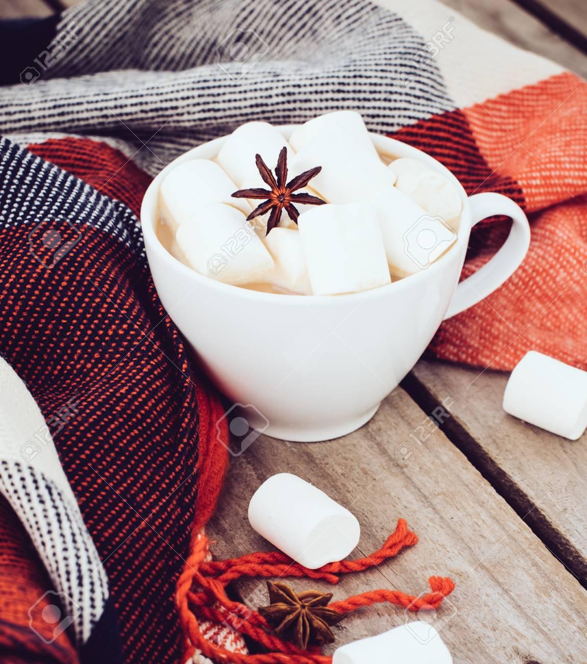 Gran Taza De Cacao Caliente Con Malvavisco Y Anís Estrellado Y ...