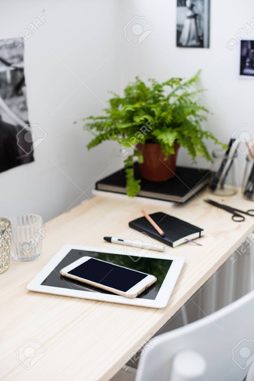 office accessories modern. Bright And Modern Loft-style Office, Work Desk With A Office Accessories. Digital Accessories