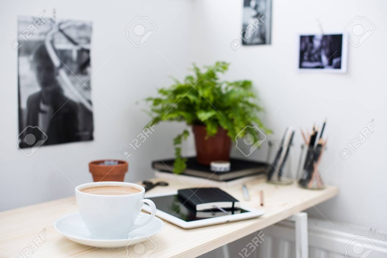 office accessories modern. Cup Of Coffe In Bright And Modern Loft-style Office, Work Desk With Office Accessories L