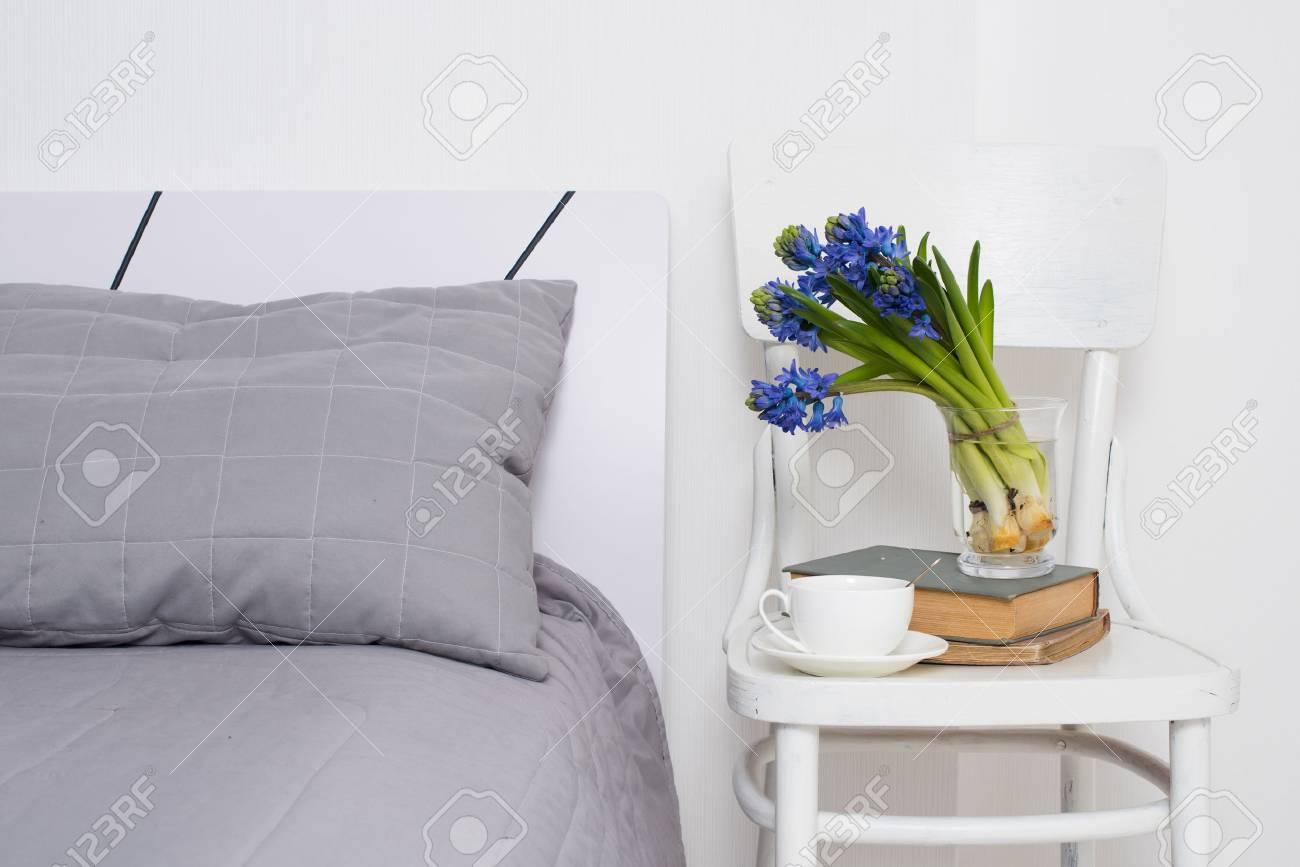 Saubere Weisse Schlafzimmer Interieur Nahaufnahme Tasse Tee Und