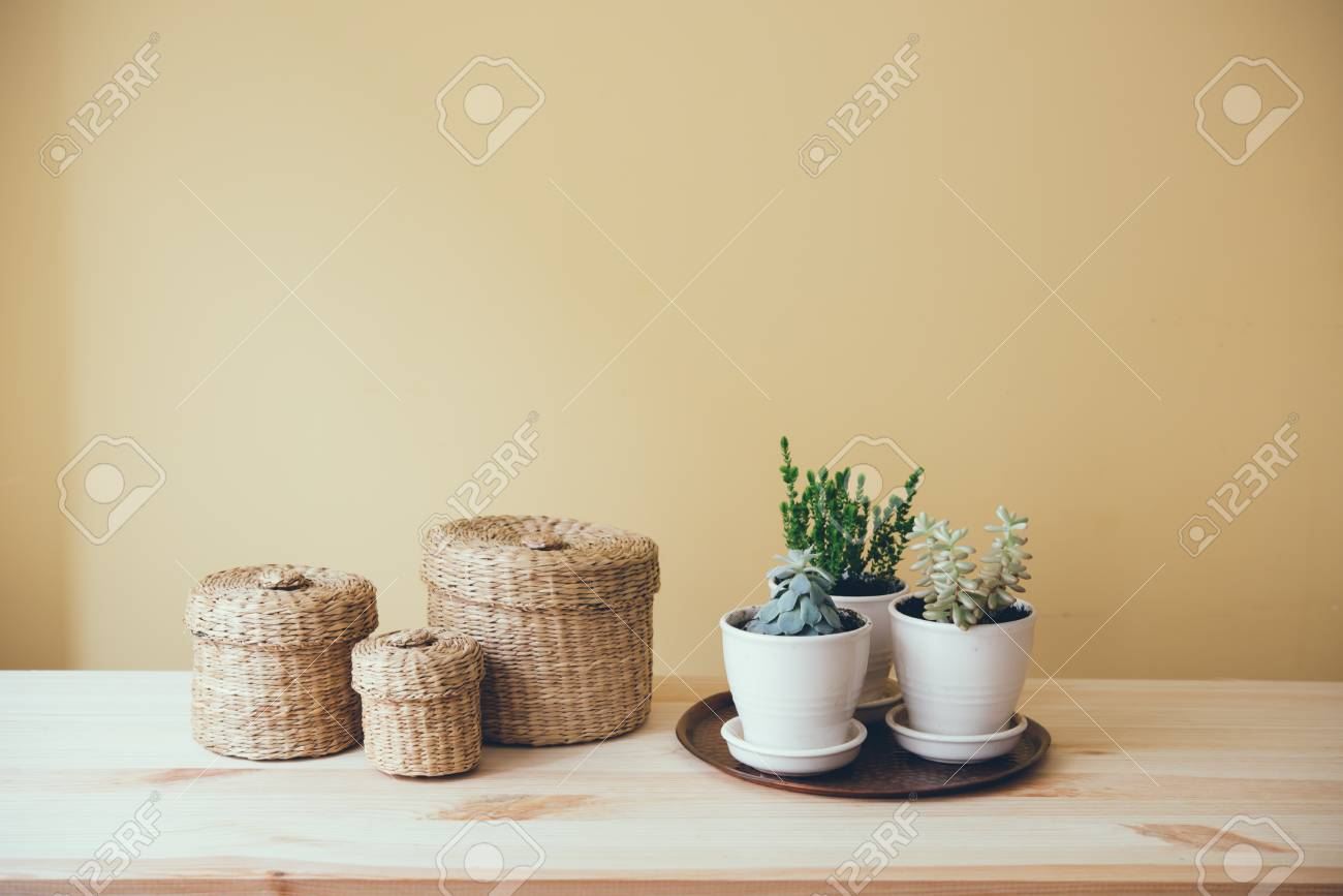 Cozy Vintage Home Decoration: Green Plants And Decorative Wicker ...