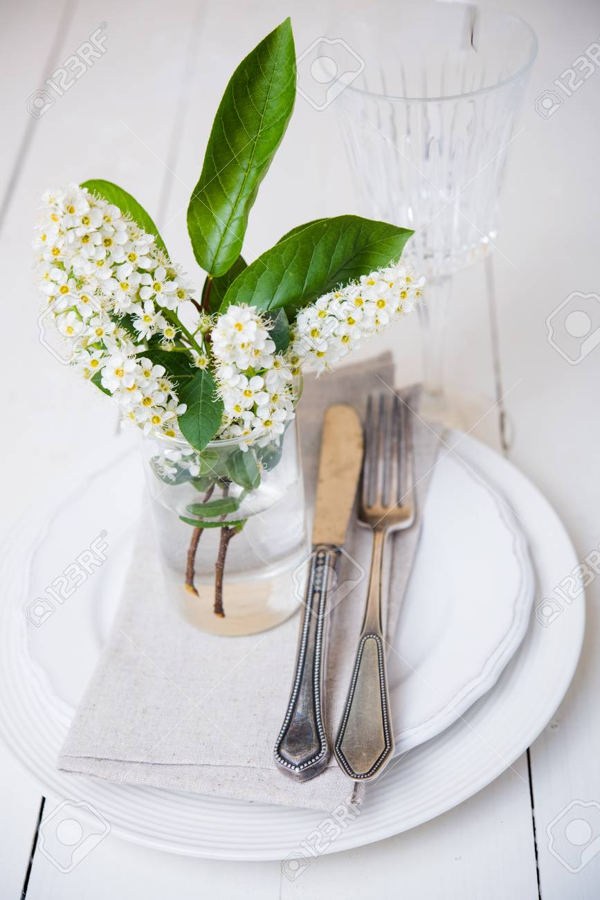 The Snow White Wedding Table Decor With Bird Cherry Blossoms Stock