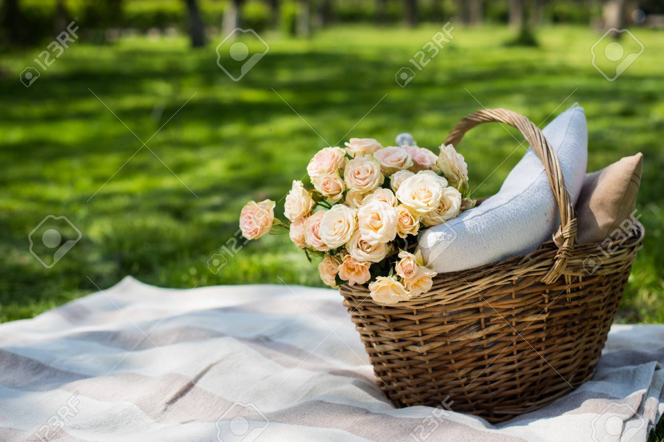 Spring Picnic In A Park Wicker Basket With Flowers And Pillows Stock Photo Picture And Royalty Free Image Image 55880736