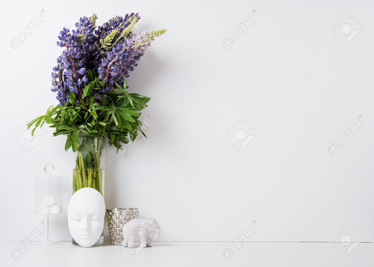 Modern home decor with flowers and interior objects, design ready background - 57907835