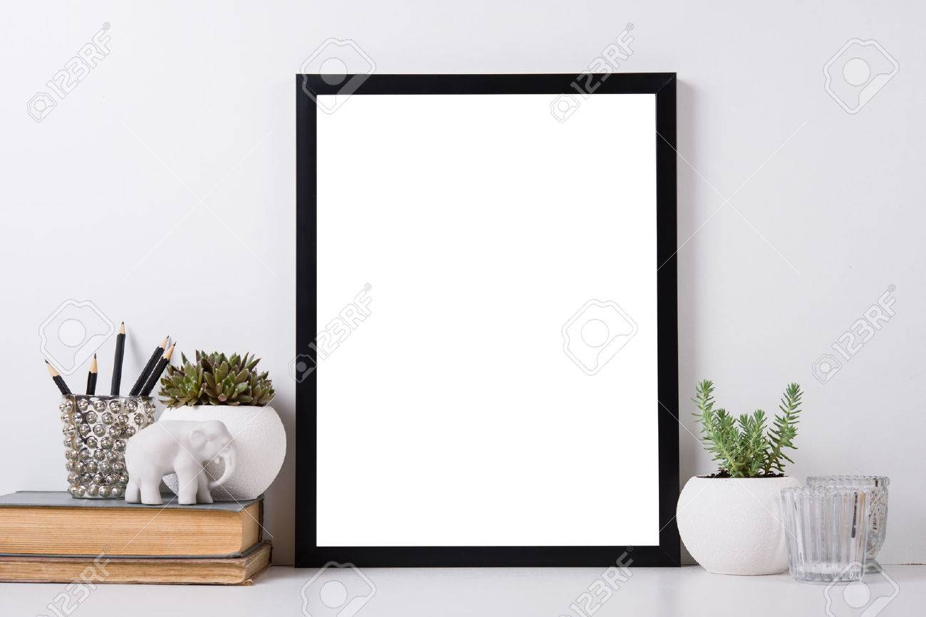 Modern home decor with frame and interior objects, design ready poster mock-up - 57907805