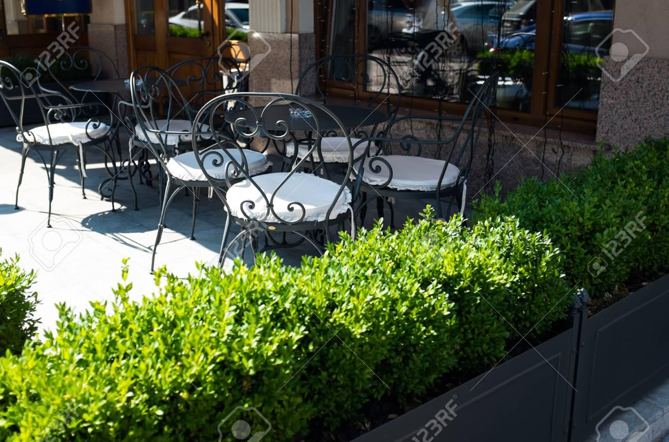 Terraza De Verano Vacío De Café De La Calle De La Ciudad Con Las Plantas Verdes