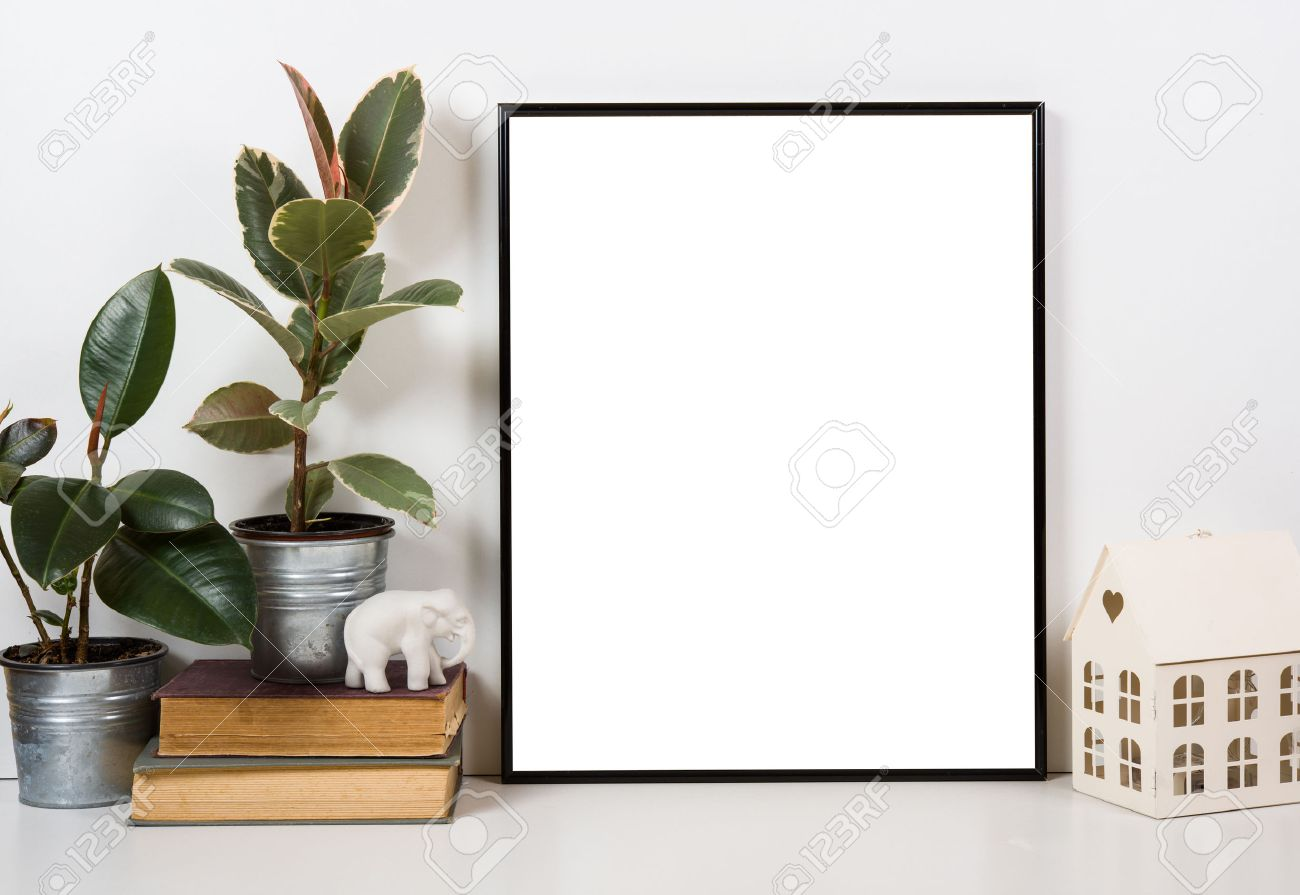 Styled tabletop empty frame painting art poster interior mock up styled tabletop empty frame painting art poster interior mock up isolated closeup stock jeuxipadfo Image collections