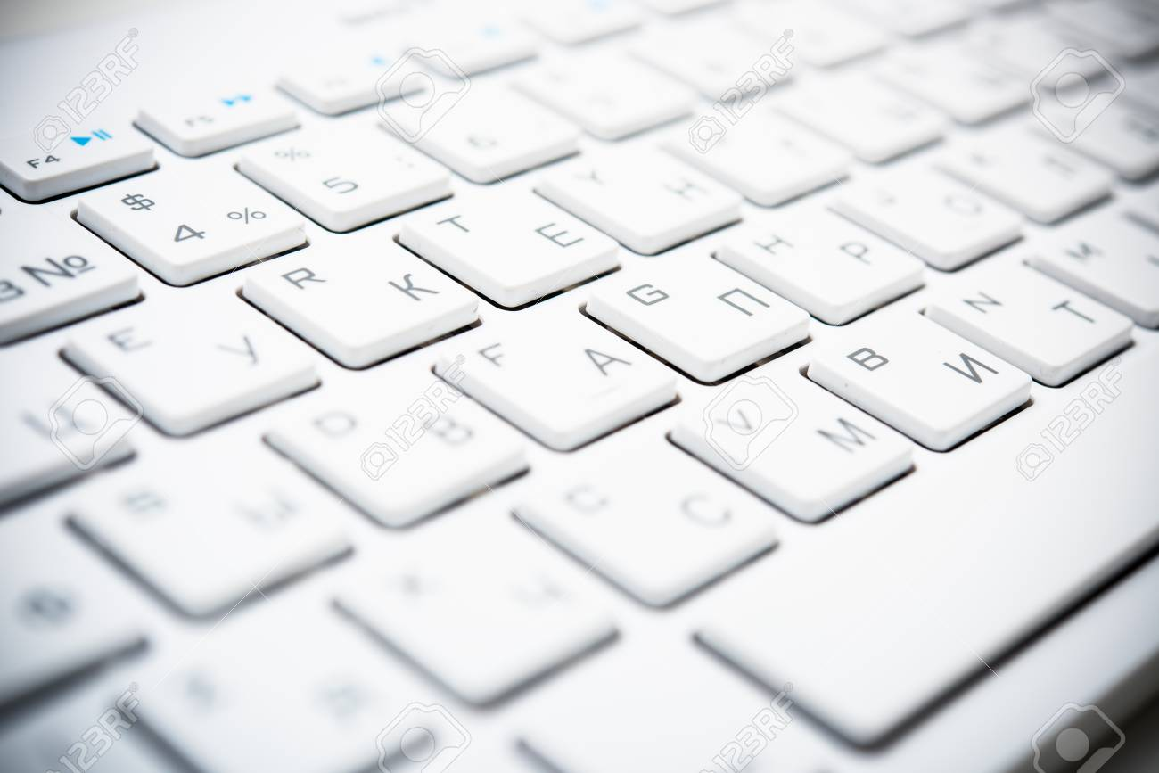 New computer keyboard with white keys, modern technology concept,