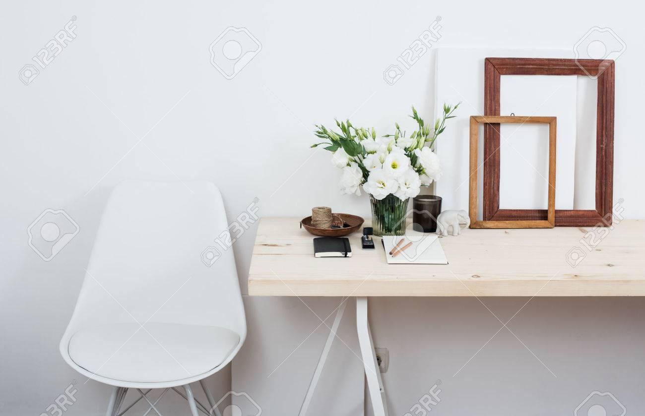 Stylish Scandinavian Interior Design, White Workspace With Desk And Chair,  Trendy Artist Studio Decor