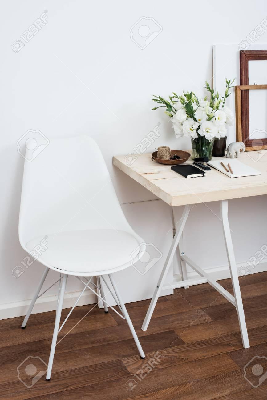 Admirable Stylish Scandinavian Interior Design White Workspace With Desk Theyellowbook Wood Chair Design Ideas Theyellowbookinfo