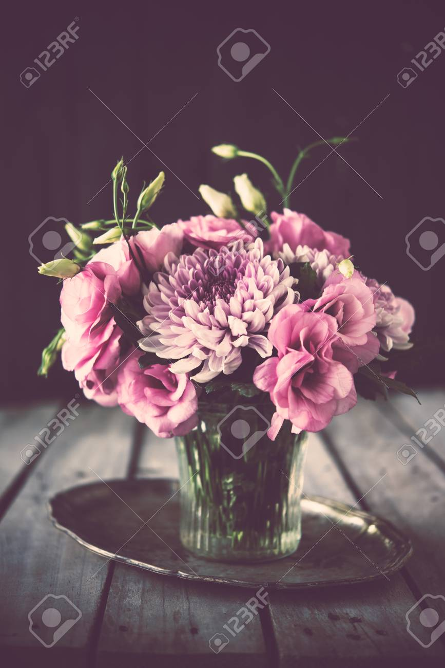 Bouquet Of Pink Flowers In A Vase Eustoma And Chrysanthemum Elegant Vintage Rustic Home
