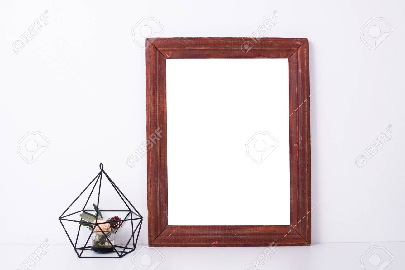 Wooden Frame And Flowers, Home Decoration Mock-up Stock Photo ...