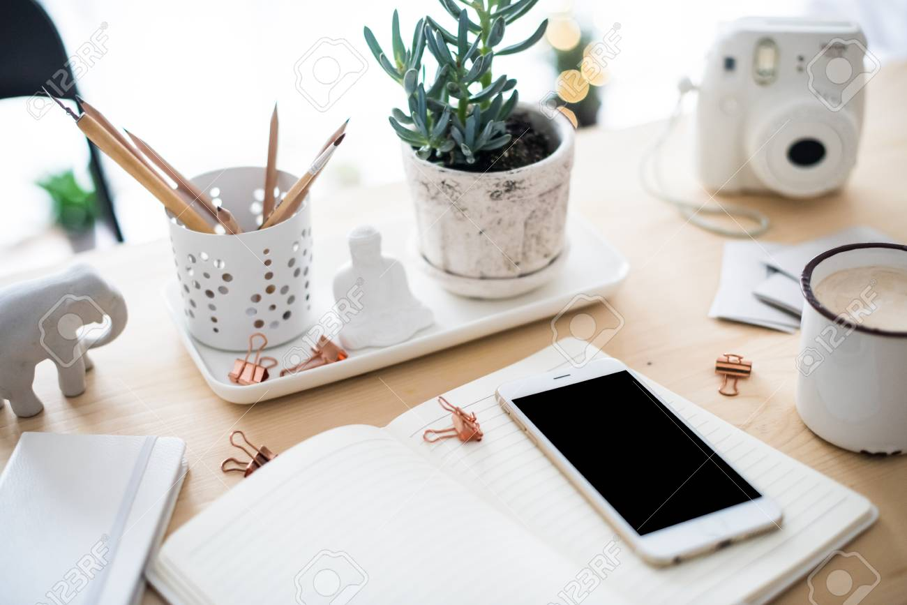 office desk flat lay with coffe, smartphone and succulents, styl - 92878315