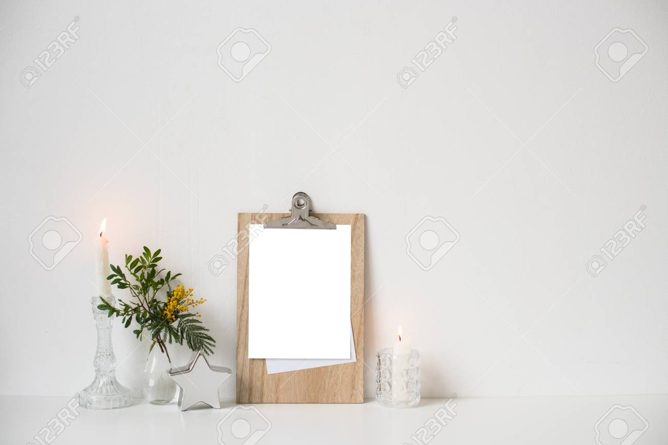 Minimalist Home Decor With Empty Frame Mock Up On White Wall Stock Photo Picture And Royalty Free Image Image 116634564