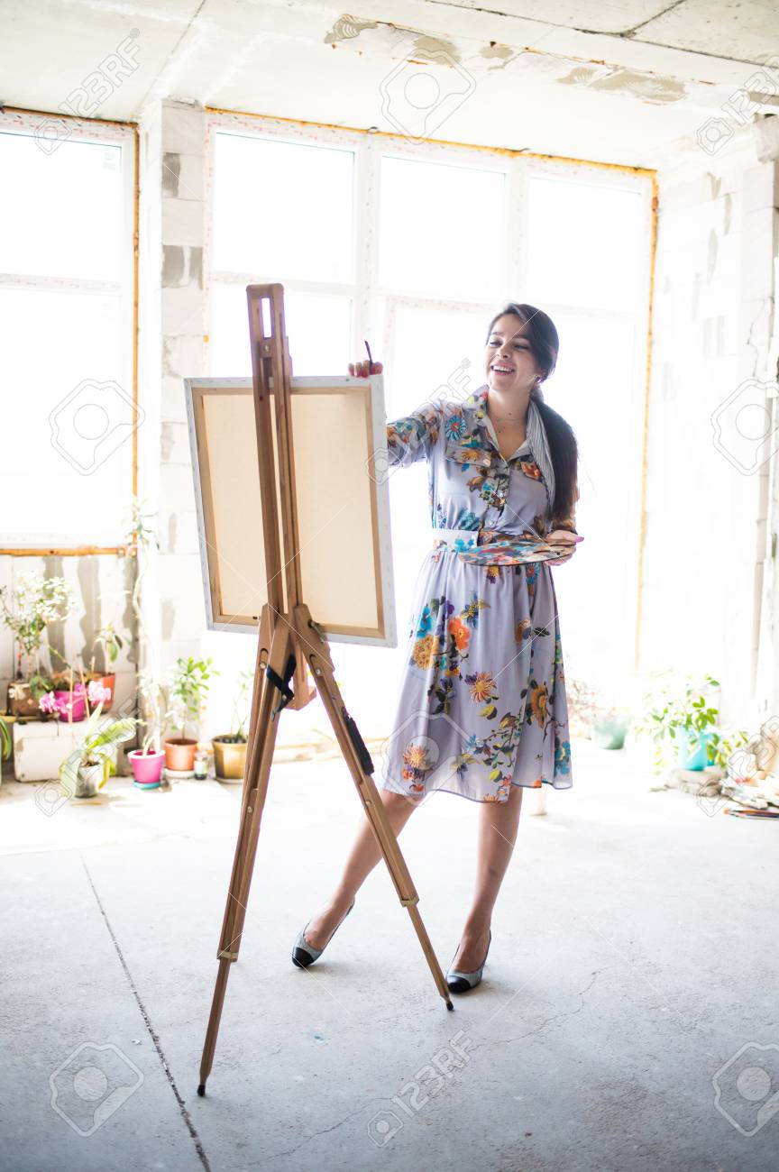 Young Beautiful Lady Painter In Dress Woman Artist Painting