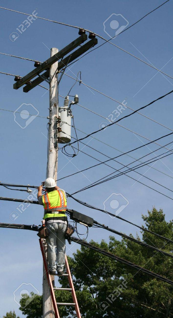 Unidentifiable Cable Installer Stock Photo, Picture And Royalty ...