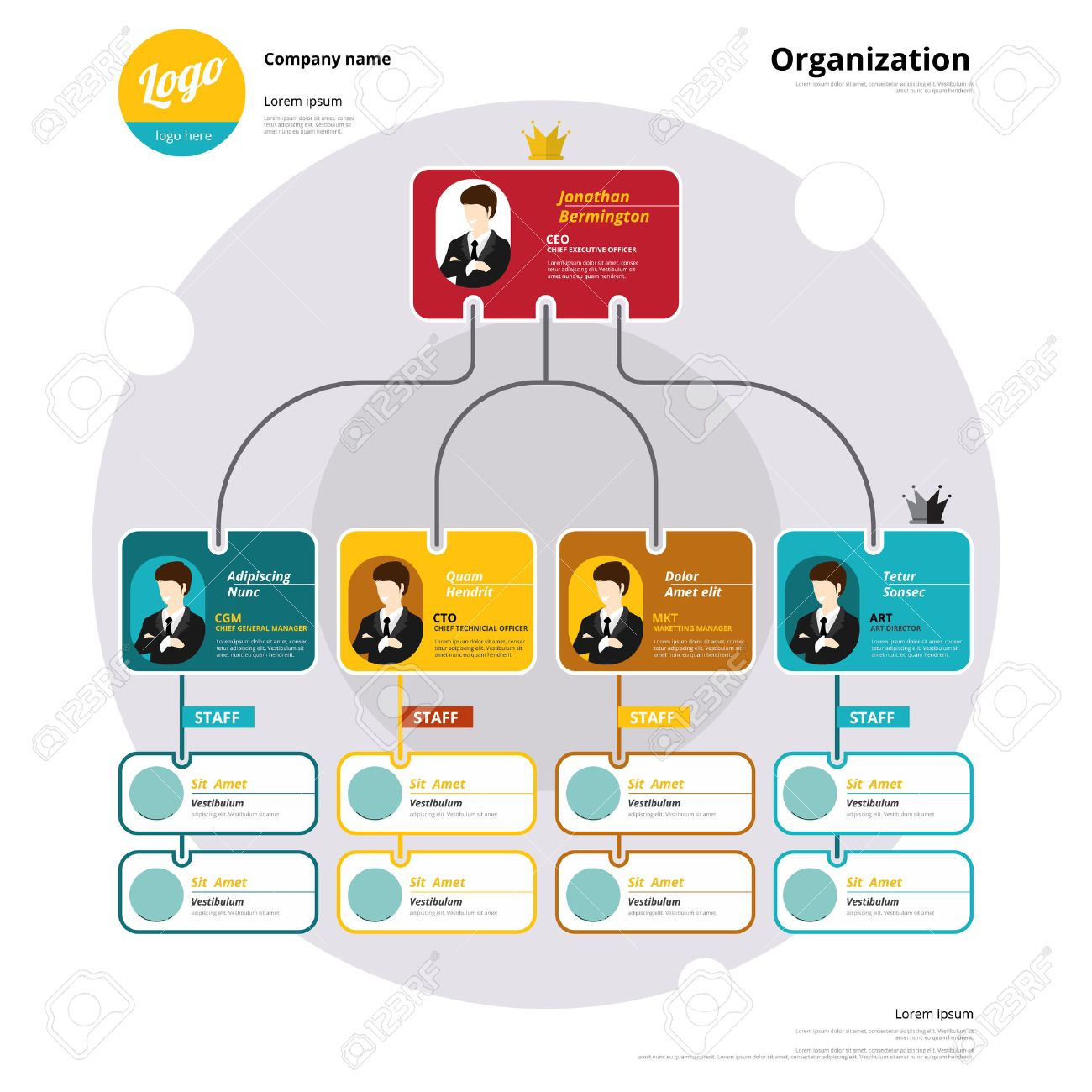 Organization chart, Coporate structure, Flow of organizational. Vector illustration. - 39250407