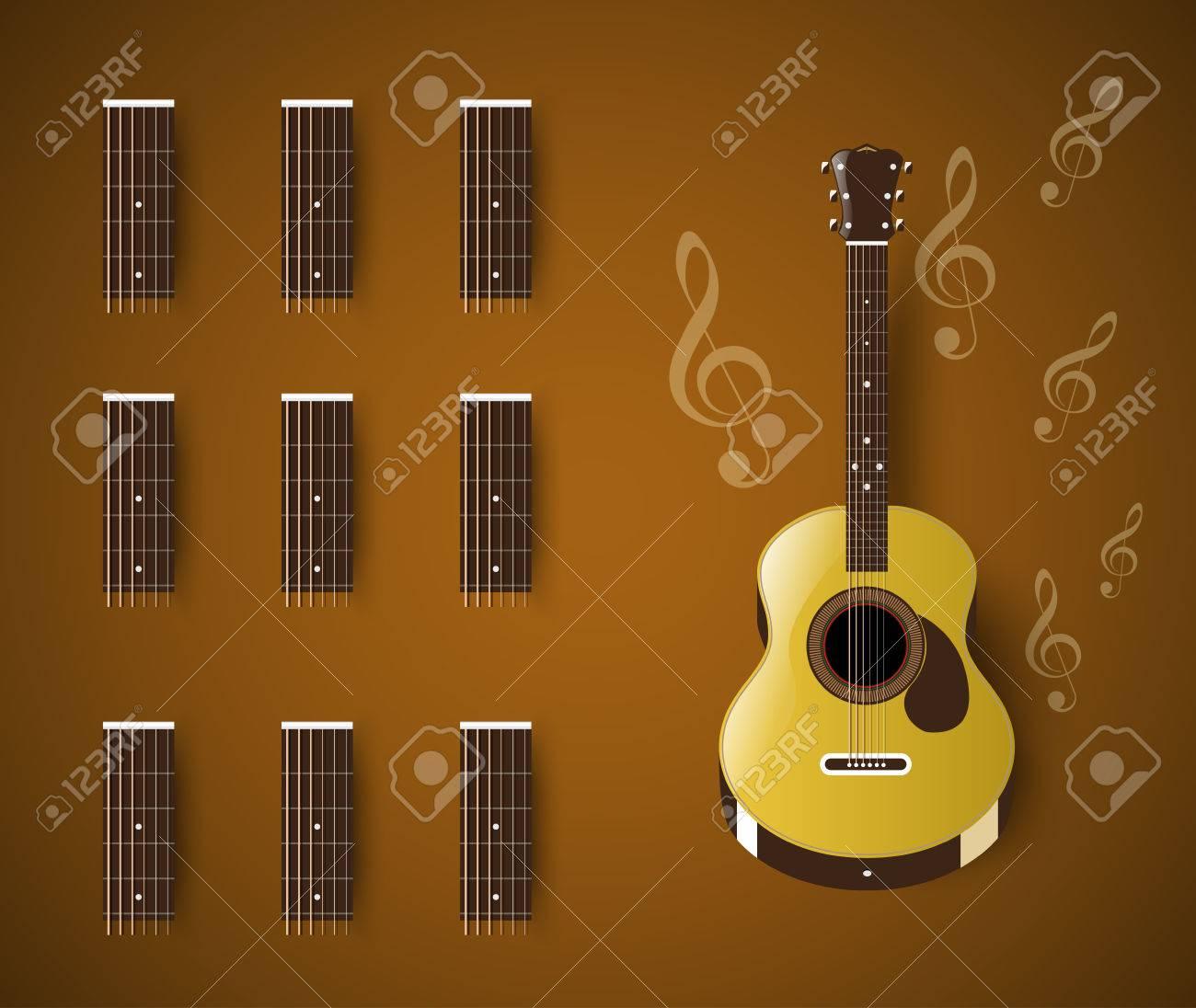 Las Guitarras Acústicas Acorde Barra De Plantilla En Blanco ...