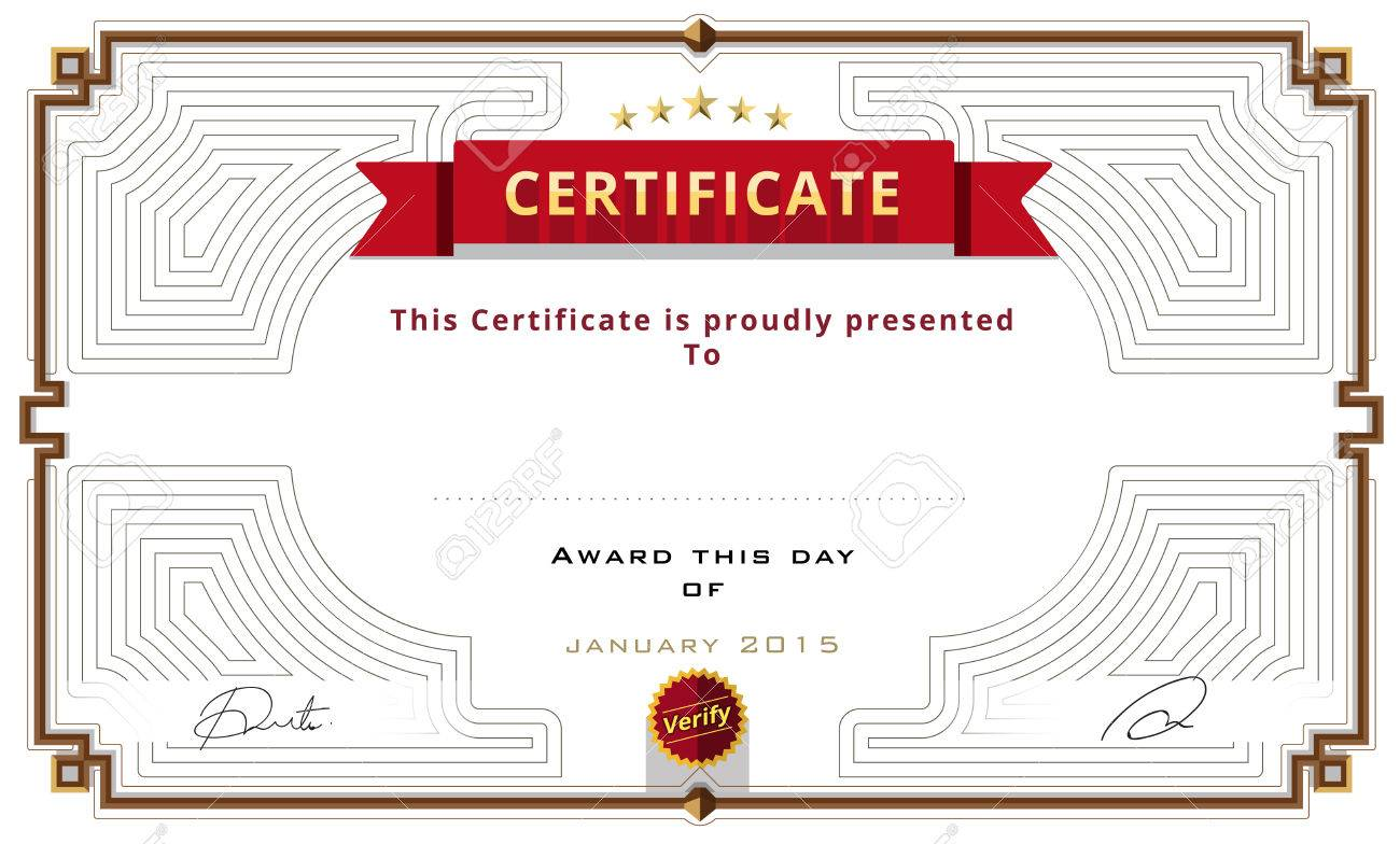 Certificate Template Design. Red Ribbon Decorate. Vector ...