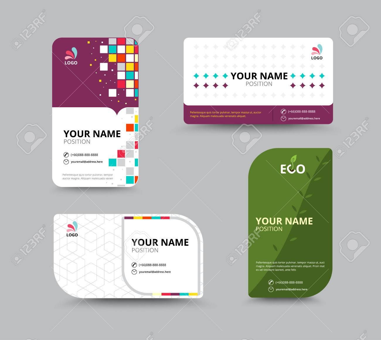 Contact Card Template. Business Name Card Design Set. Vector ...