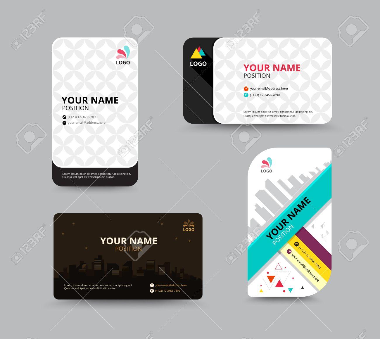Contact card template business name card design set vector contact card template business name card design set vector illustration stock vector 41643903 flashek Choice Image
