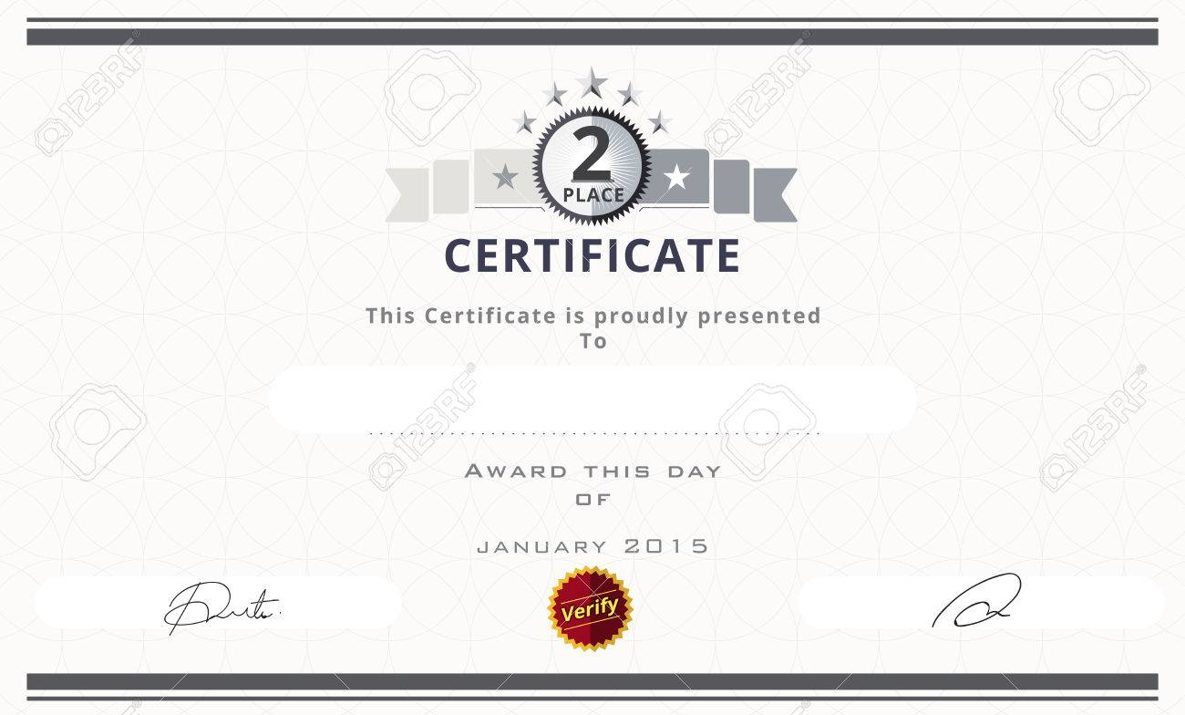 Certificate Template With Second Place Concept Certificate Border
