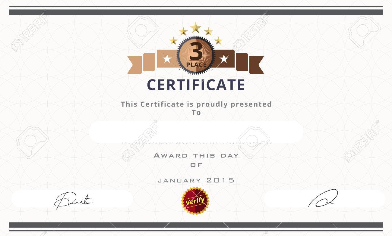 Certificate Template With Third Prize Concept. Certificate Border ...