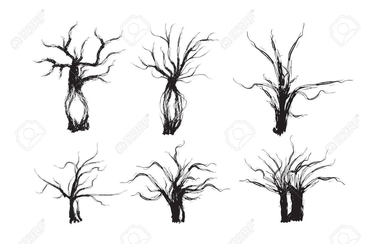 spooky tree set halloween tree vector illustration royalty free