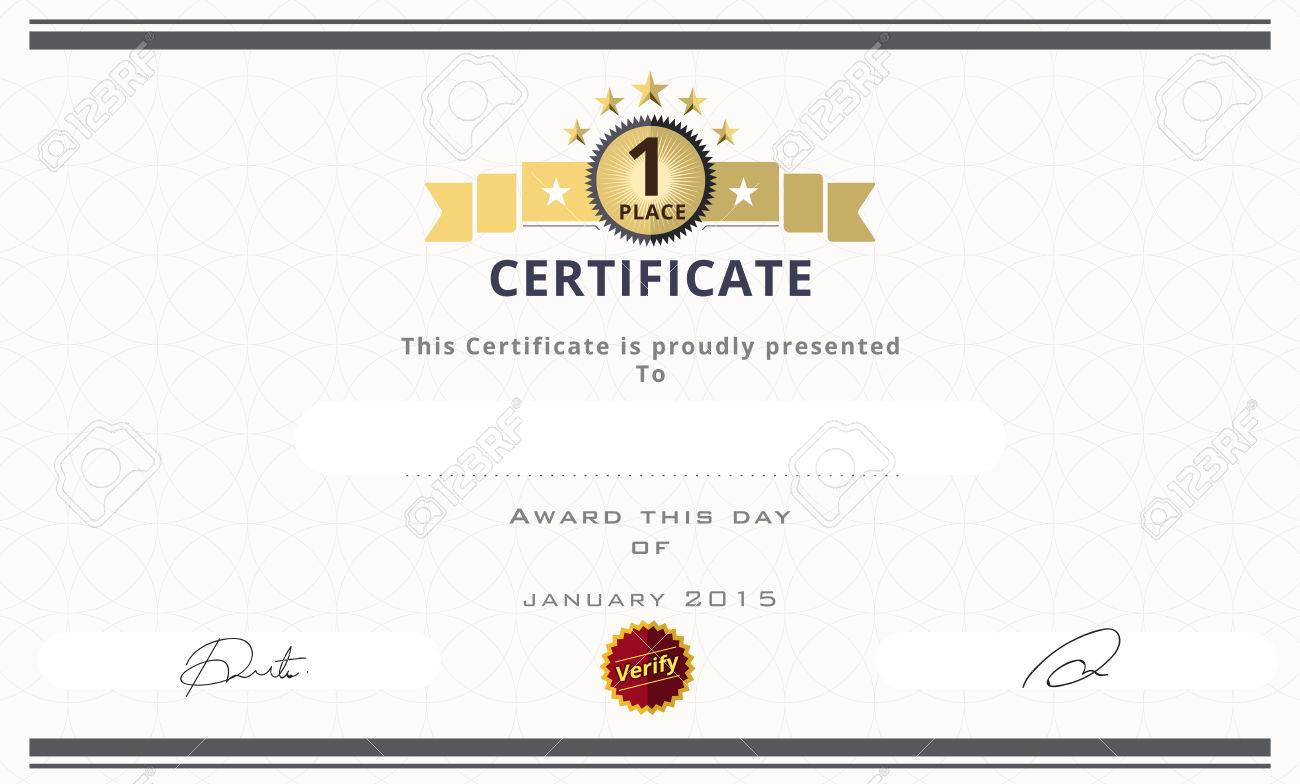 Certificate Template With First Place Concept. Certificate Border ...