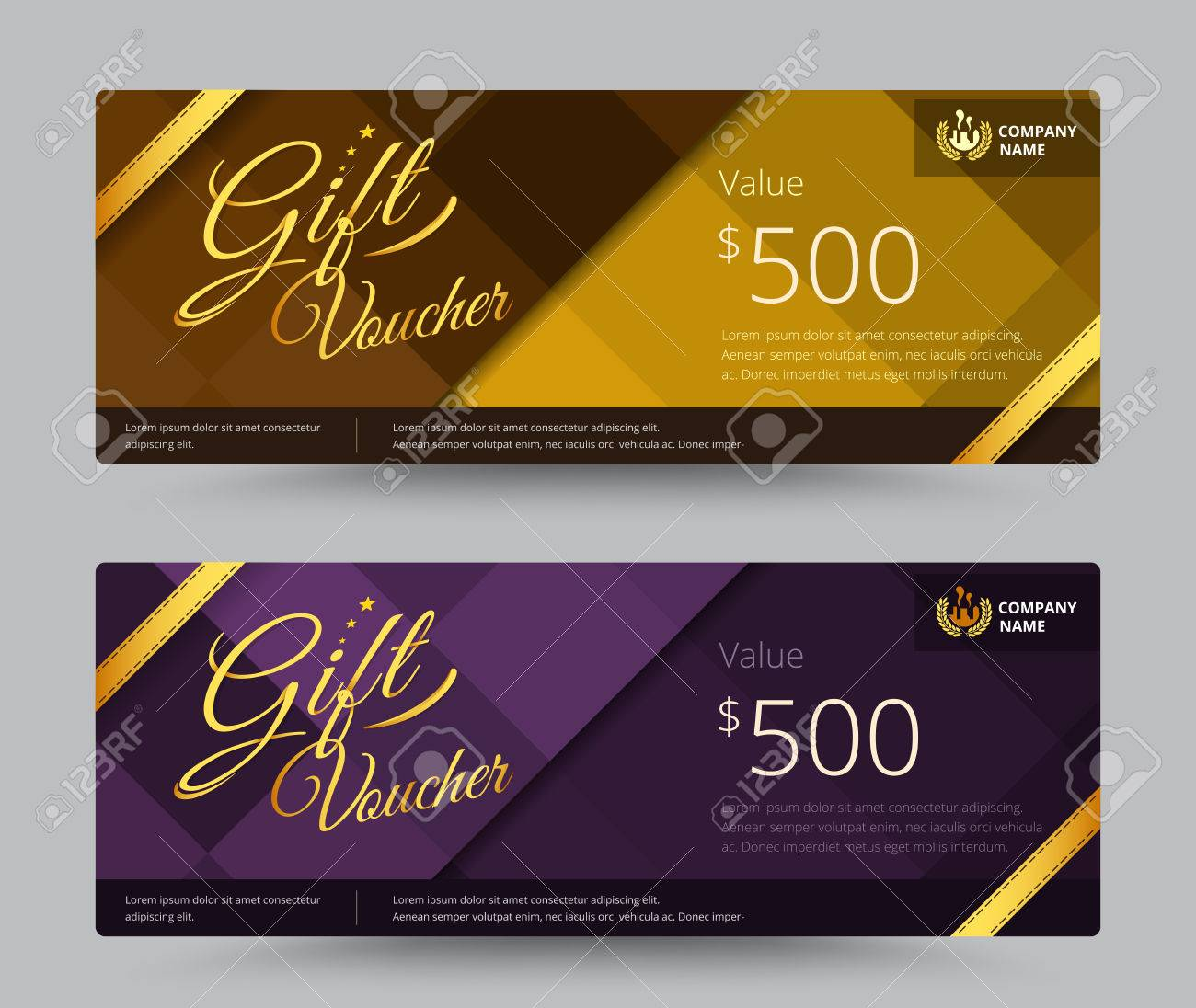 Gift Voucher And Coupon Gold Or Purple Color Set Include Sample