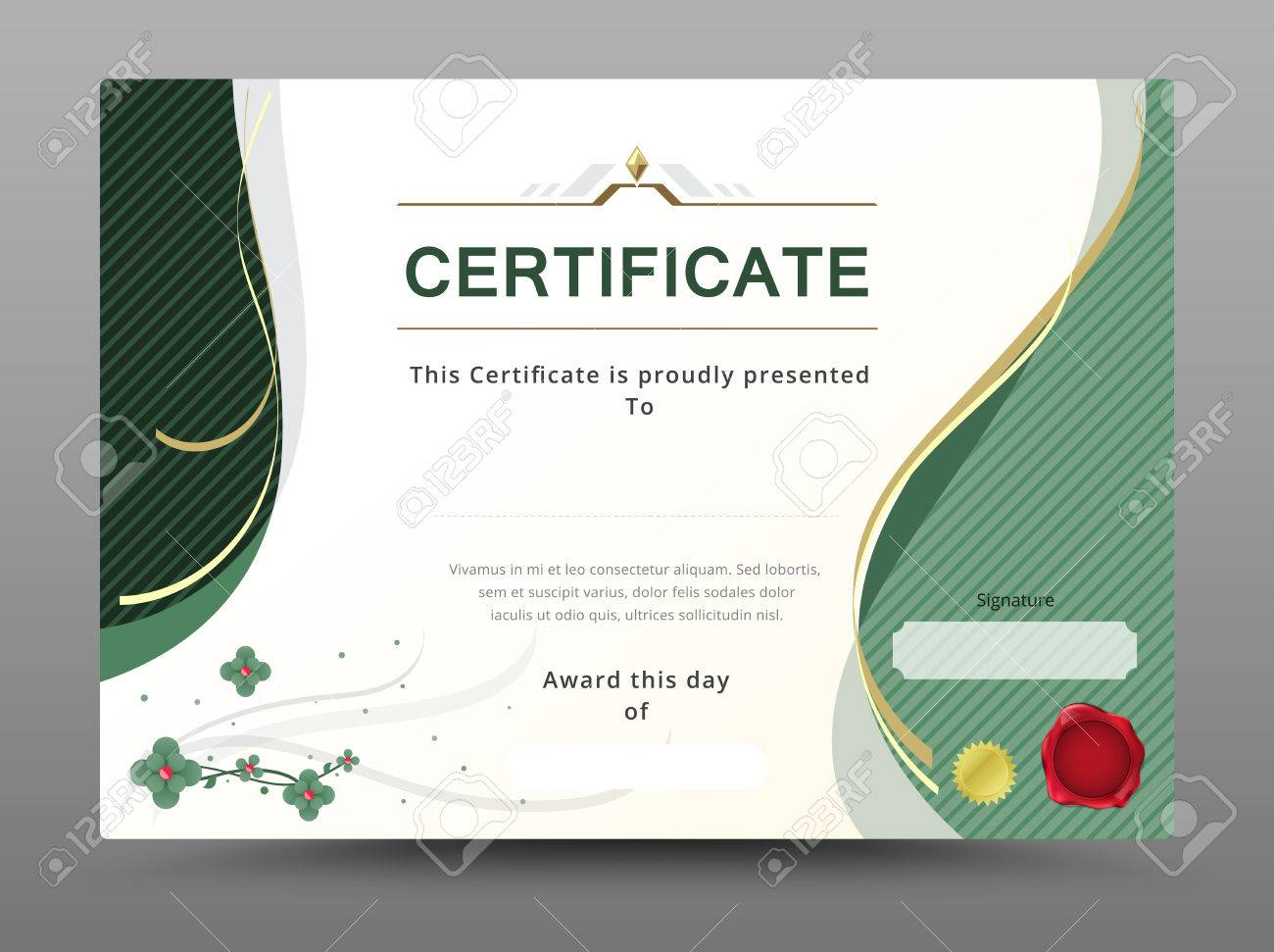 Green Certificate Template With Gold Ribbon Decorate. Vector ...
