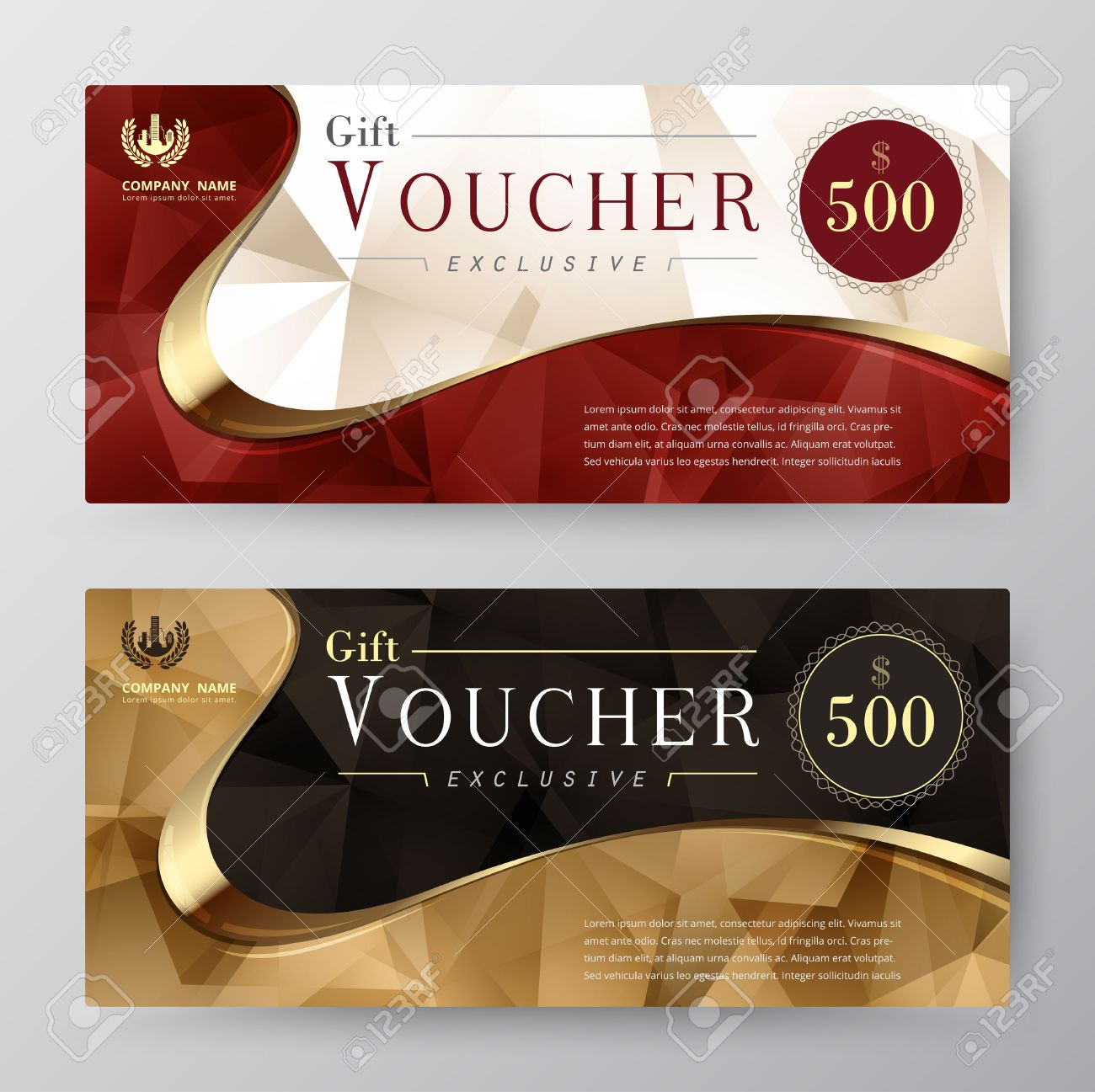 Luxury gift voucher template. promotion card, Coupon design. vector stock. - 48191692