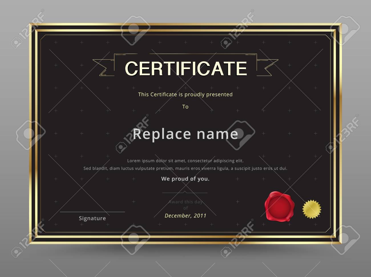 elegant certificate template design gold and black color guarantee