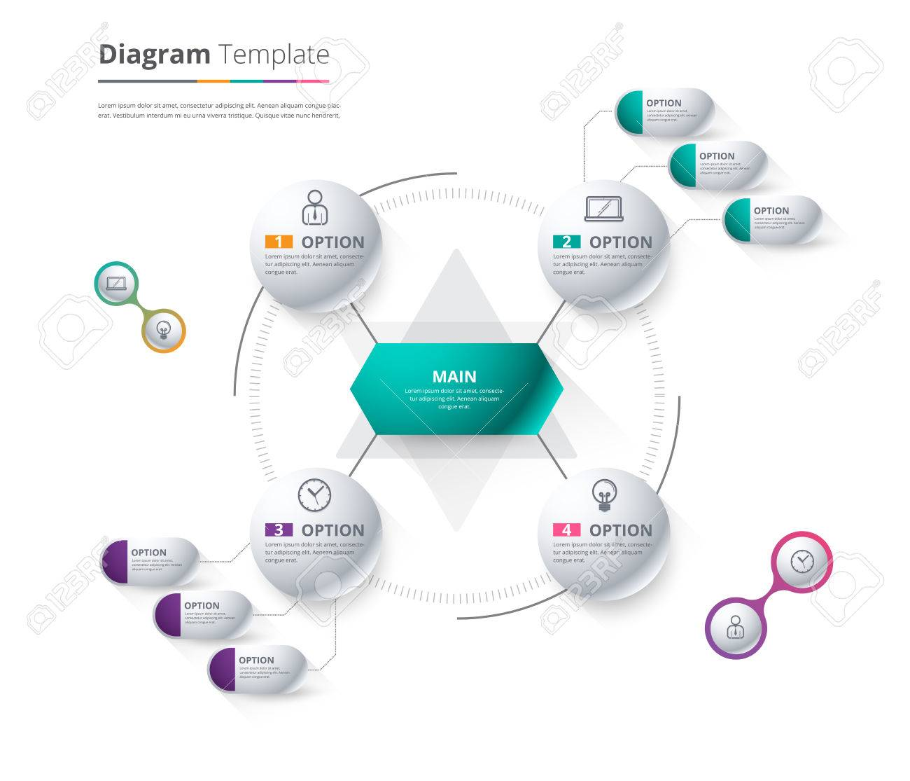 Diagram Template, Organization chart template. flow template, blank diagram for replace text, white color, Circle diagram, vector stock design. - 58753985
