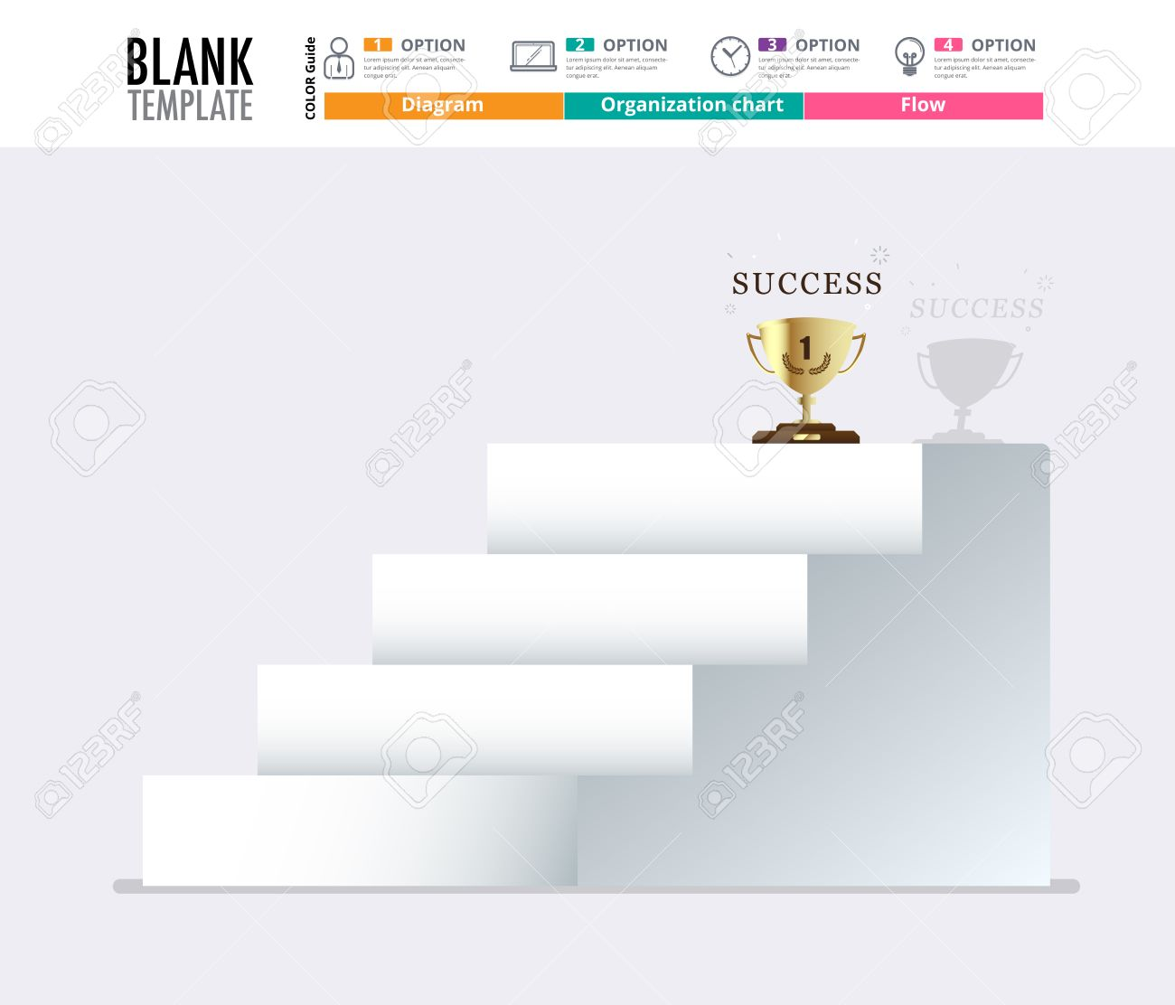 Stair to success infographic design template for replace text,