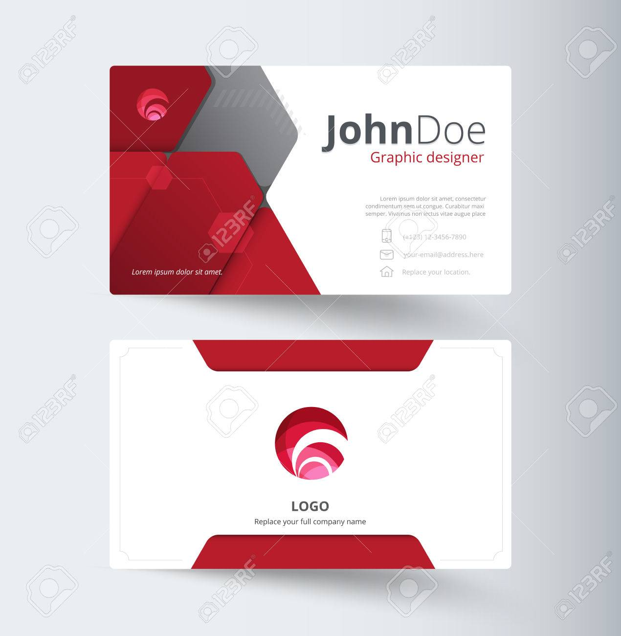 Red Abstract Business Contact Card Template Design Abstract - Contact card template