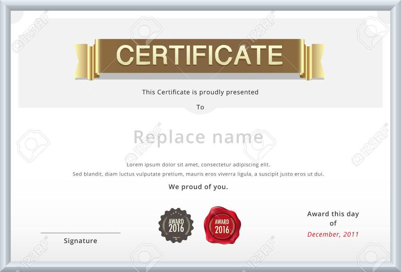 Gold Certificate Template. Education Diploma With Gold Text ...