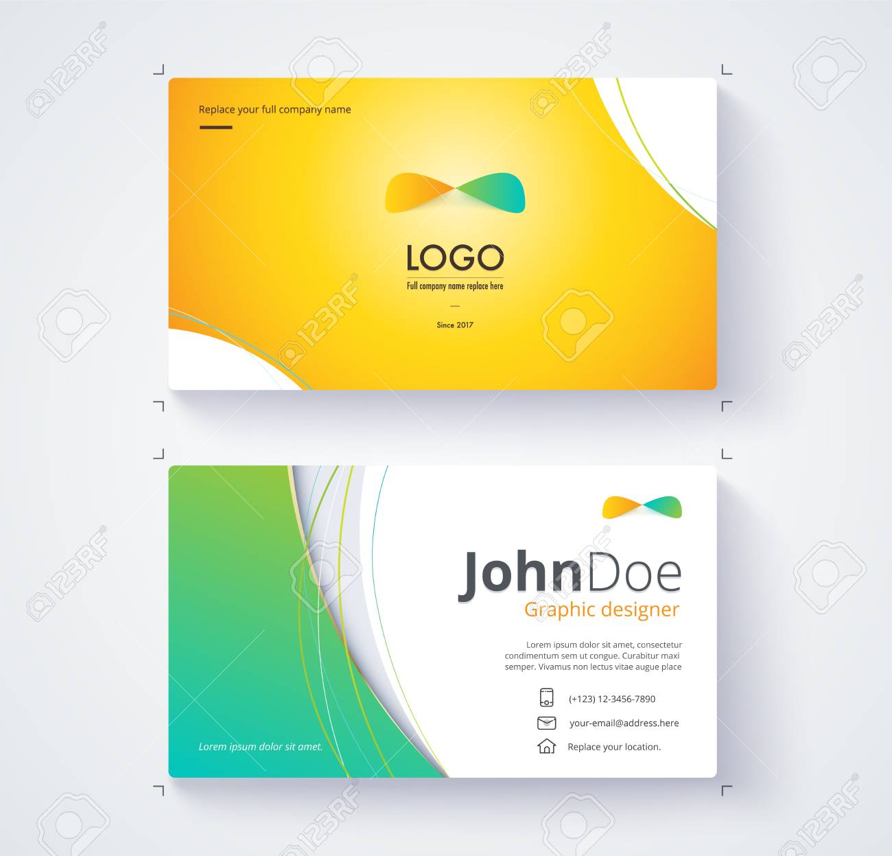 Business Card Template Include Sample Logo And Text. Template ...