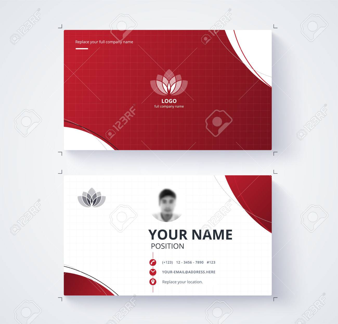 Red Business Card Template With Sample Logo Design. Vector Card ...