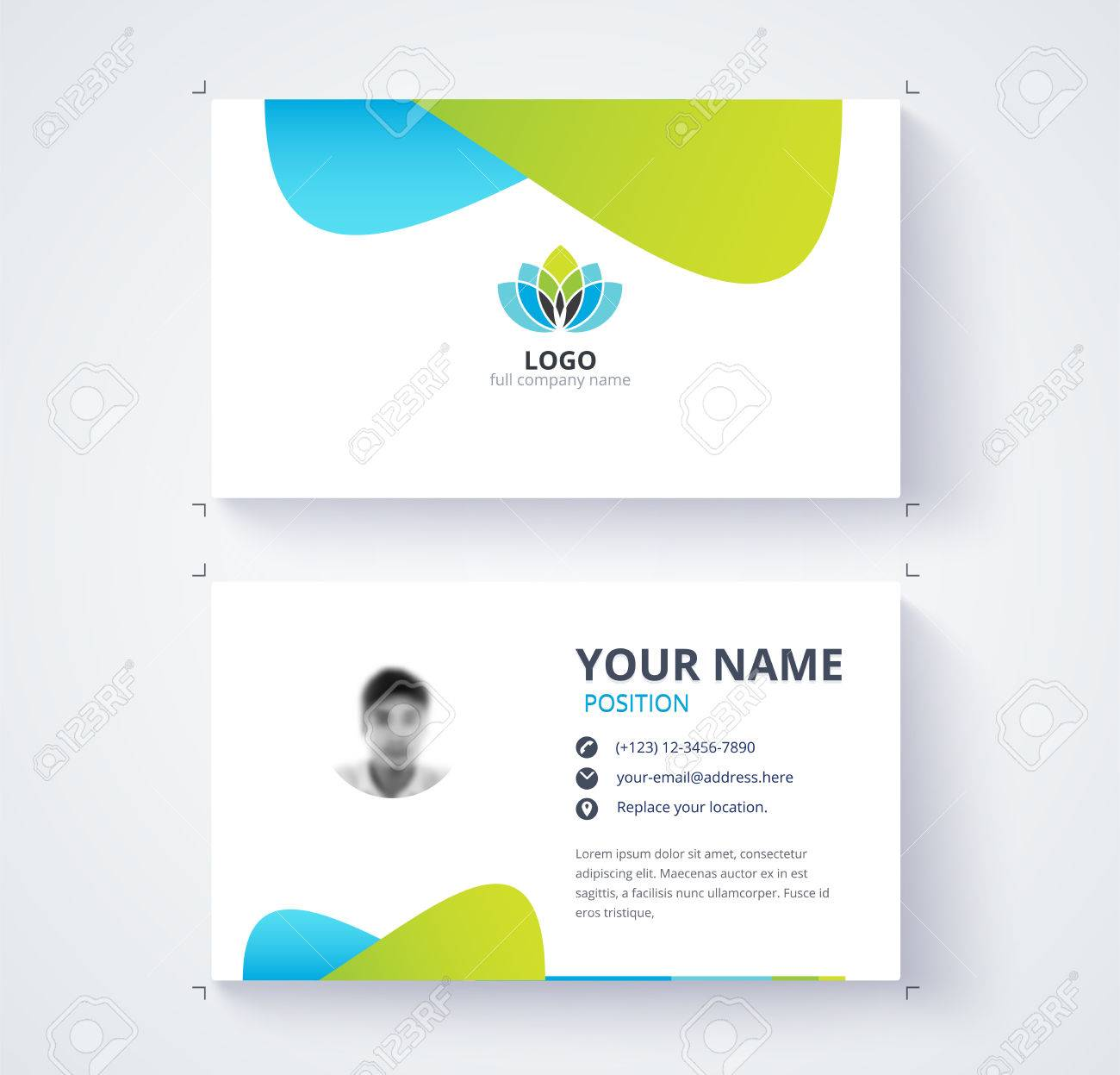 Modern business card template blue and green card background modern business card template blue and green card background stock vector 71264573 cheaphphosting Image collections