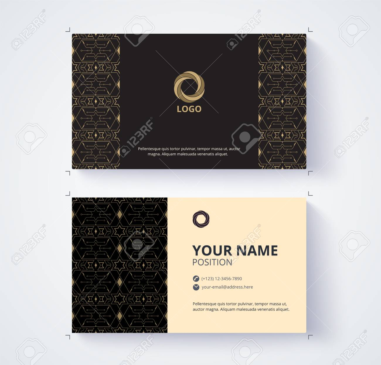 Business Card Template. Example Logo And Text Position. Vector ...