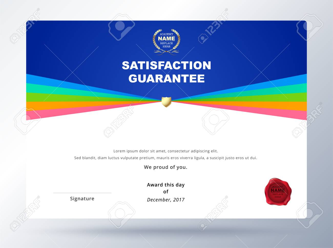 Satisfaction Guarantee Template Design With Simple Concept Certificate