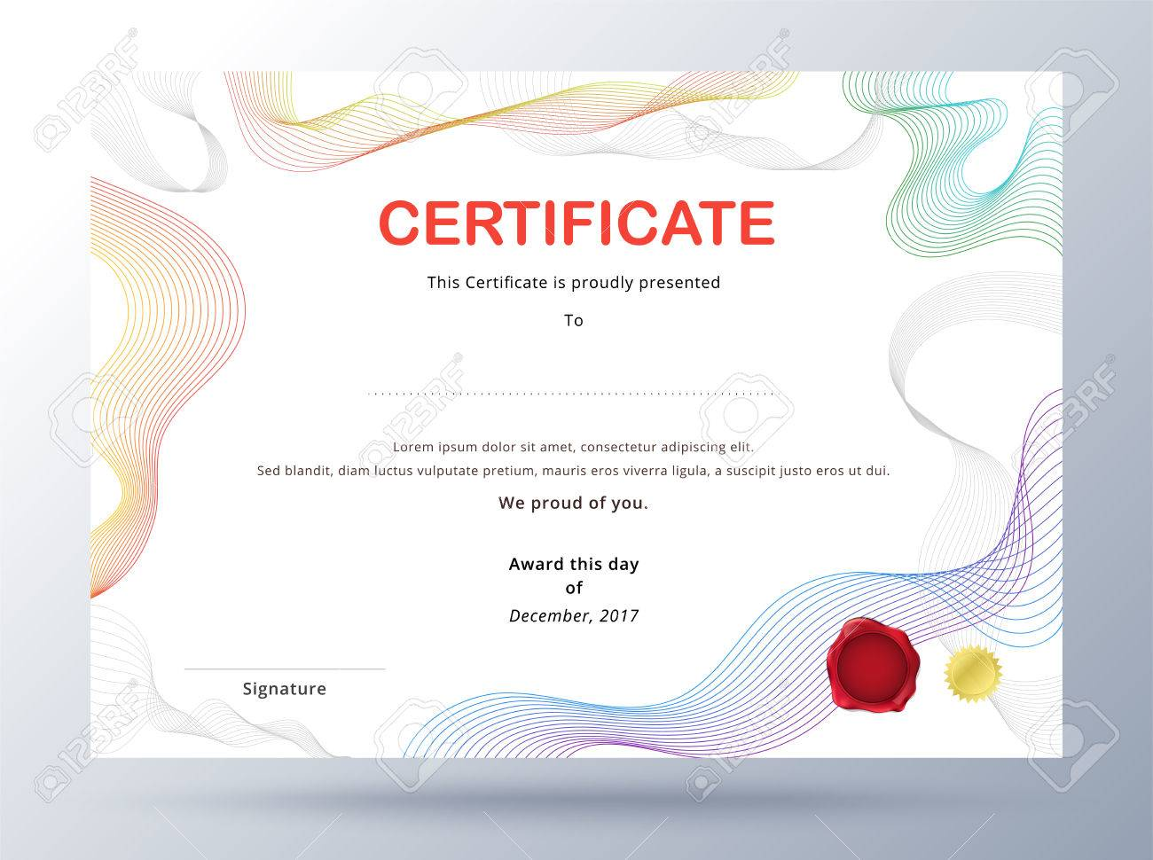 Certificate Template Design With Simple Concept. Colorful Business ...